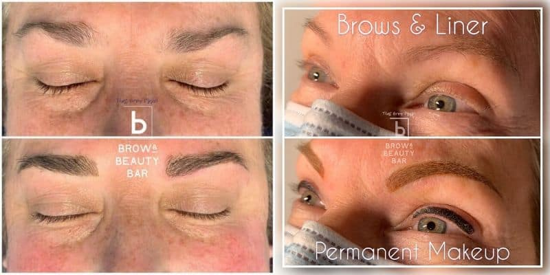 Microblading with permanent makeup process